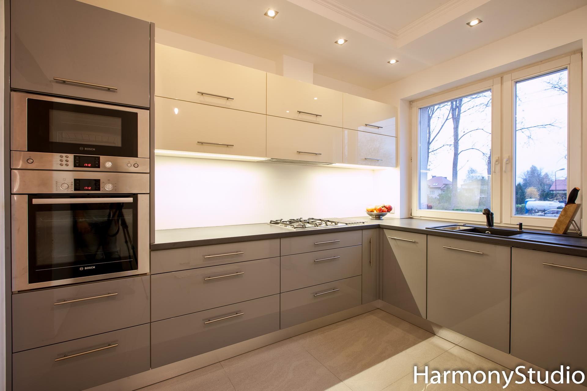 Błyszcząca Szara Kuchnia Harmony Studio