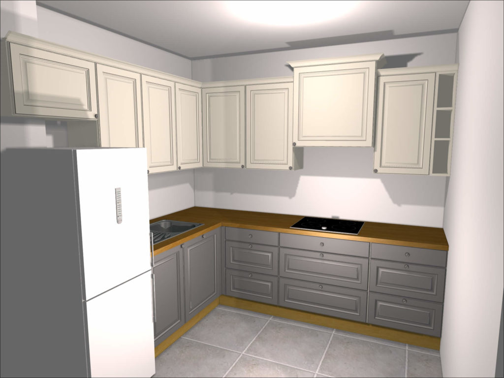 wizualizacja projektu kuchni w bloku